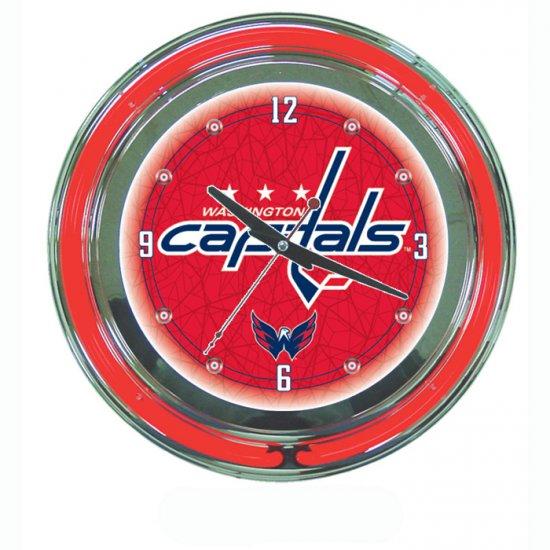 NHL Washington Capitals Neon Clock - 14 inch Diameter