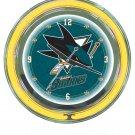 NHL San Jose Sharks Neon Clock - 14 inch Diameter