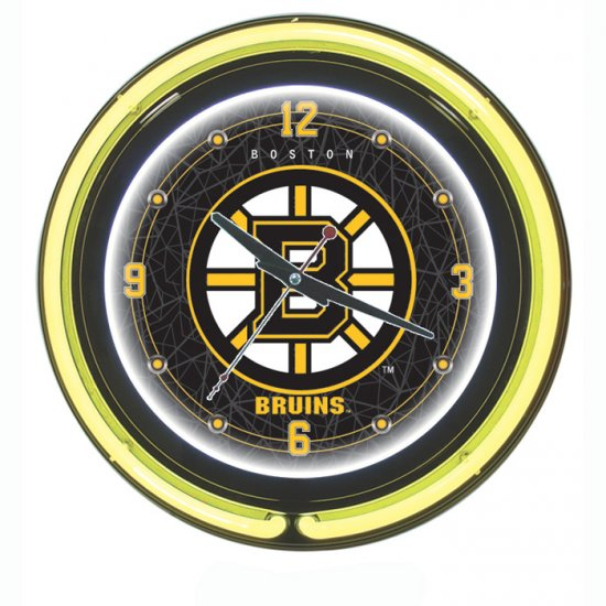 NHL Boston Bruins Neon Clock - 14 inch Diameter