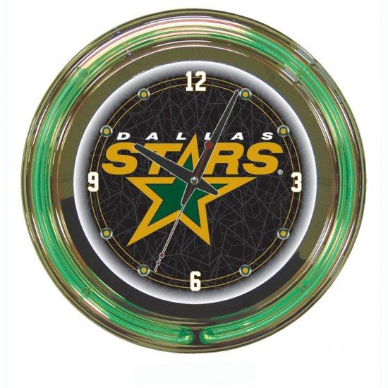 NHL Dallas Stars Neon Clock - 14 inch Diameter
