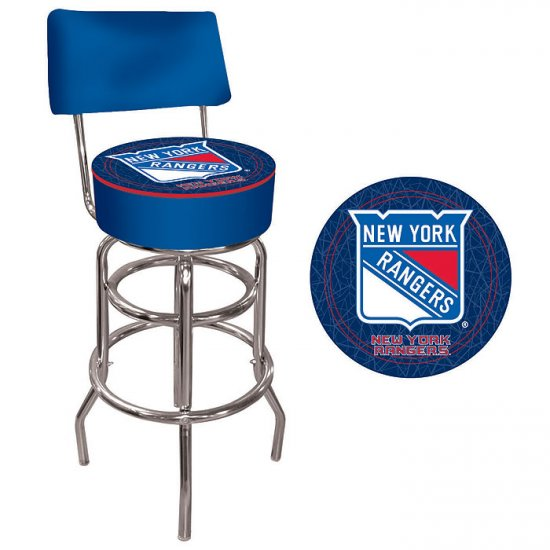 NHL New York Rangers Padded Bar Stool with Back