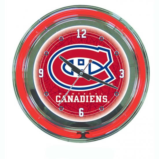 NHL Montreal Canadians Neon Clock - 14 inch Diameter