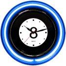 14.5 Inch Quartz Eight Ball Clock - Blue Neon