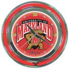 Maryland University Neon Clock - 14 inch Diameter