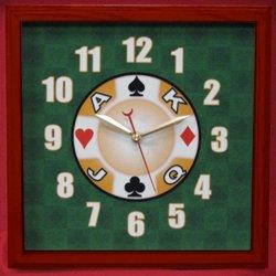 12x12 Square Casino Wall Clock Cherry