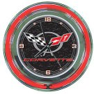 Corvette C5 Neon Clock - 14 inch Diameter - Black