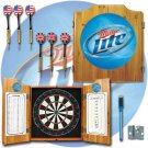 Miller Lite Dart Cabinet Includes Darts and Board
