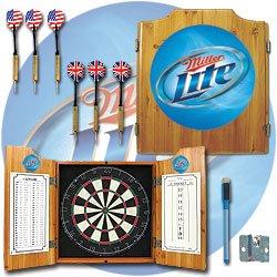 Miller Lite Dart Cabinet Includes Darts and Board