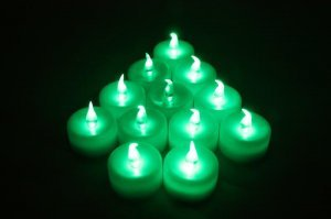 Wholesale green LED TEA LIGHT WEDDING PARTY flicker CANDLE PARTY CHRISTMAS (min order 500)