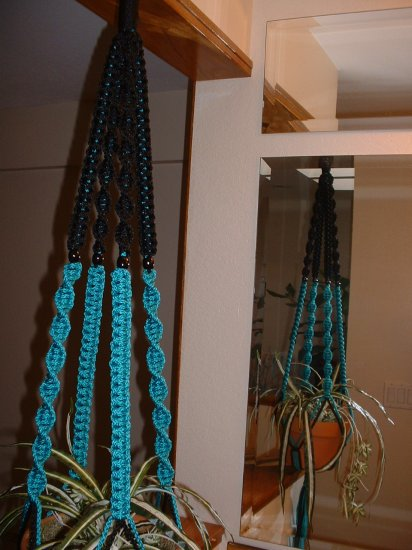 Macrame Plant Hanger TURQUOISE and BLACK 4 BLACK BEADS