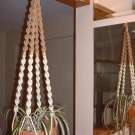 Macrame Plant Hanger IVORY and SAND 4 TAN BEADS