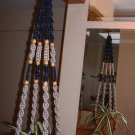 Macrame Plant Hanger NAVY and PLATINUM 4 TAN BEADS