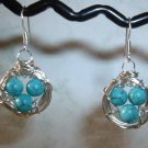 BIRD NEST EARRINGS TURQUOISE Silver Earrings 514