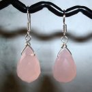 ROSE QUARTZ TEARDROP  Sterling Silver Earrings 513