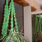 LOT 2 Macrame Plant Hangers PARROT GREEN TAN BEADS