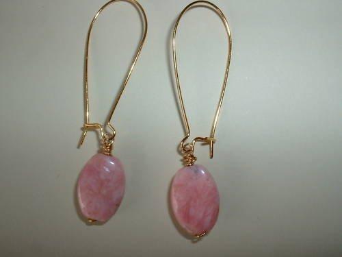 PINK RHODOCHROSITE GOLD Earrings 437