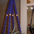 Macrame Plant Hanger PURPLE 4 TAN BEADS