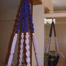 Macrame Plant Hanger VIOLET and PURPLE 4 TAN BEADS