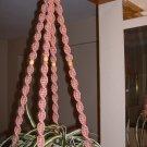 Macrame Plant Hanger DUSTY ROSE 4 TAN BEADS