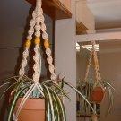 Macrame Plant Hanger VANILLA 3 YELLOW  BEADS