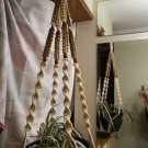 Macrame Plant Hanger VANILLA and TAN 4 WALNUT BEADS