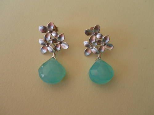 SWEET FLOWER PERUVIAN BLUE CHALCEDONY Silver Earrings