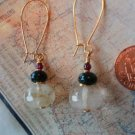 CHERRY QUARTZ MOSS AGATE GARNET GOLD Earrings 21