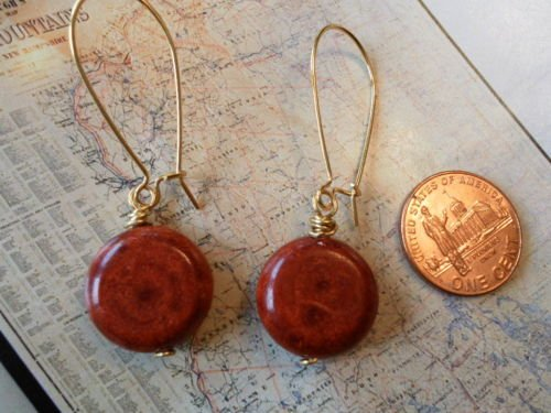 RED SPONGE CORAL GOLD Earrings 20