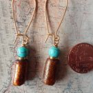 GOLD SPONGE CORAL AND TURQUOISE GOLD Earrings 18