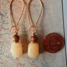 YELLOW AVENTURINE GOLD SPONGE CORAL GOLD Earrings 17