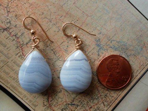 BLUE LACE AGATE 14K GOLD FILLED Earrings 12