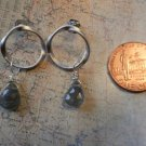 LABRADORITE TWISTED HOOP WHITE GOLD Earrings 14