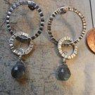 LABRADORITE MULTI RINGS HAMMERED Silver Earrings 14
