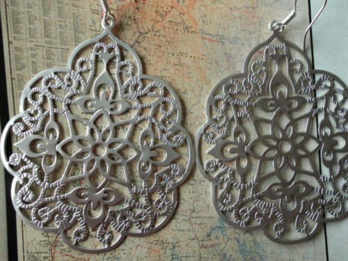MOROCCAN EARRINGS Silver ORIENTAL $65