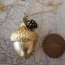 ACORN and PINE CONE Necklace Gold