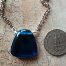 BLUE GLASS TRAPEZOID PENDANT NECKLACE SILVER
