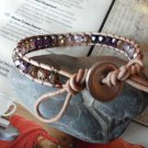 WRAP TAN LEATHER BRACELET WINTER LILAC MIXED CZECH FIRE POLISHED BEADS