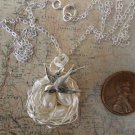 BIRD NEST 3 EGGS WHITE PEARLS NECKLACE WITH MAMA BIRD  Silver