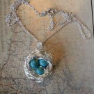 BIRD NEST TURQUOISE NECKLACE  Silver