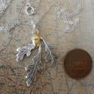 TRIPLE OAK LEAF and ACORN Necklace Silver