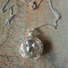 BIRD NEST GRAY PEARLS NECKLACE Silver