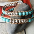 WRAP TAN LEATHER BRACELET TURQUOISE AND FACETED SILVER Beads