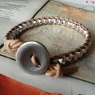 WRAP TAN LEATHER BRACELET FACETED SILVER Beads