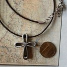 EDFORCE NECKLACE CROSS Stainless steel and LEATHER