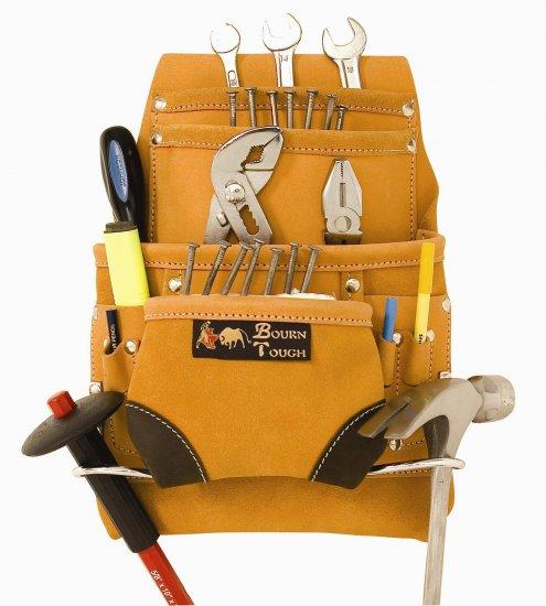 10 Pocket Full Grain Leather Tool Belt Pouch Bag