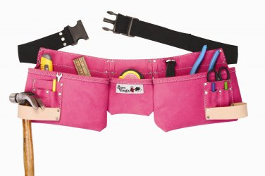 9 Pocket Suede Leather Pink Tool Pouch Bag Belt