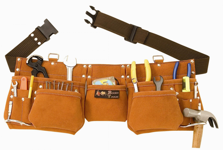 9 Pocket Suede Leather Contractors Tool Pouch Bag Belt