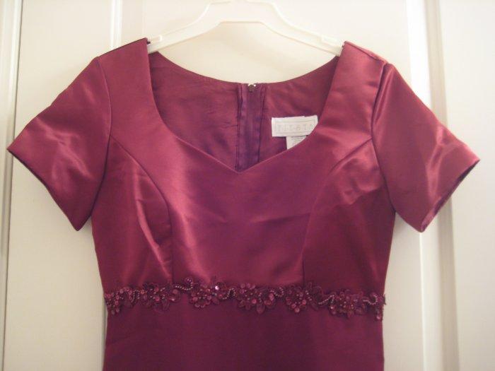 Size 1-3 Burgundy Red Satin top short sleetve dress.
