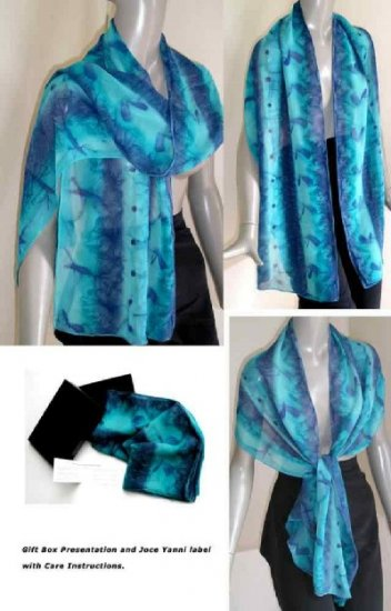 Commission only (choose your colors) - Hand Painted Large Silk Chiffon Scarf Shawl Wrap