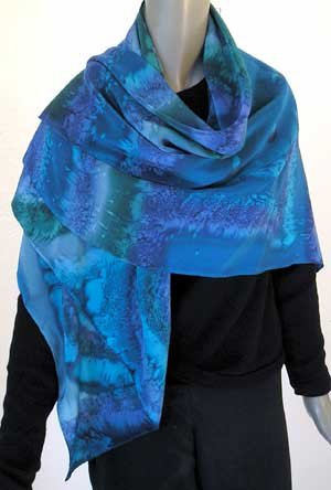 Hand Painted Silk Crepe Scarf Shawl Wrap, blue, lapis, Emerald, Teal, fashion by Jossiani